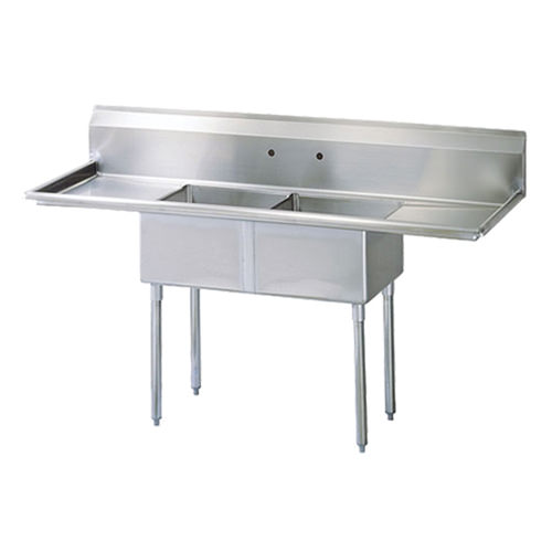 EFI SI818-2BC 18x18x11 Center Drain Two Compartment Sink With Two Drain Boards