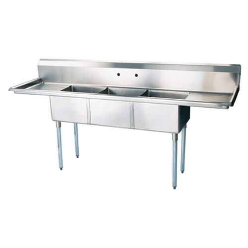 EFI SI818-3BC 18x18x11 Center Drain Three Compartment Sink With Two Drain Boards