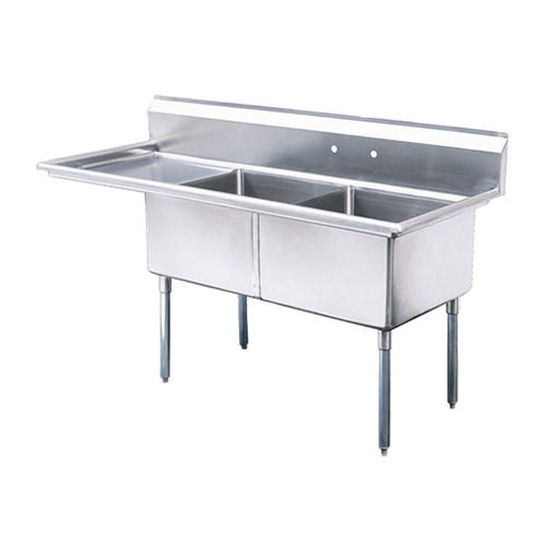Thorinox TDS-2424-L24 24″ x 24″ x 14″ Corner Drain Two Compartment Sink With Left Drain Board