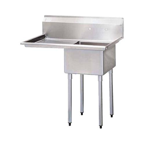 Thorinox TSS-1818-L18 18″ x 18″ x 11″ Corner Drain One Compartment Sink With Left Drain Board