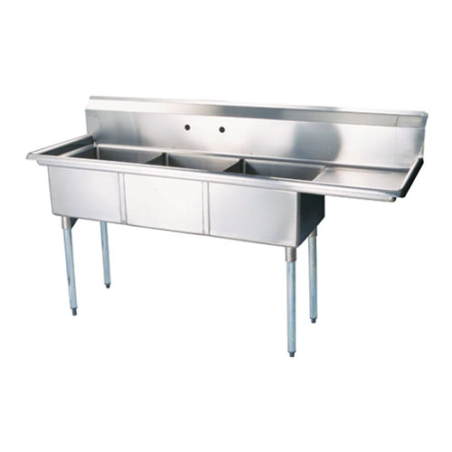Thorinox TTS-1818-R18 18″ x 18″ x 11″ Corner Drain Three Compartment Sink With Right Drain Board
