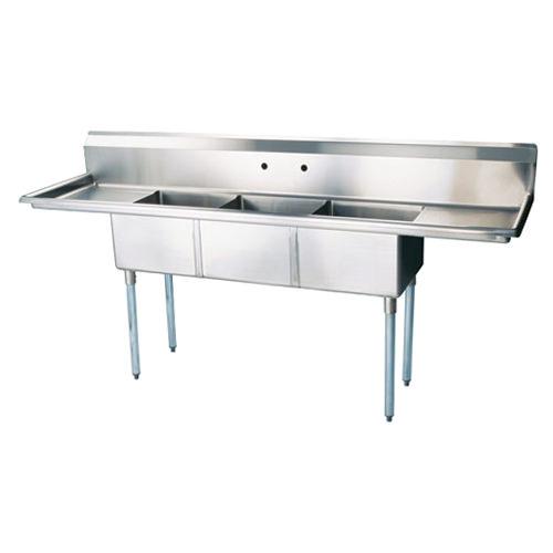 Thorinox TTS-1818-RL18 18″ x 18″ x 11″ Corner Drain Three Compartment Sink With Two Drain Boards