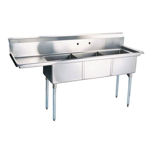 Thorinox TTS 2424 L24 24u2033 X 24u2033 X 14u2033 Corner Drain Three Compartment Sink  With Left Drain Board