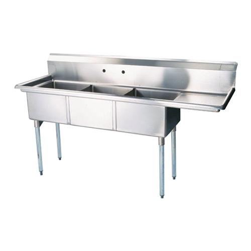 Thorinox Tts 2424 R24 24 X 24 X 14 Corner Drain Three Compartment Sink With Right Drain Board