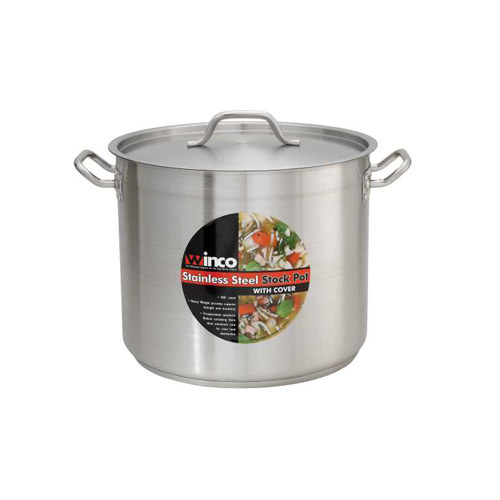 Winco SST-16 16 Qt Premium Stainless Steel Stock Pot with Cover