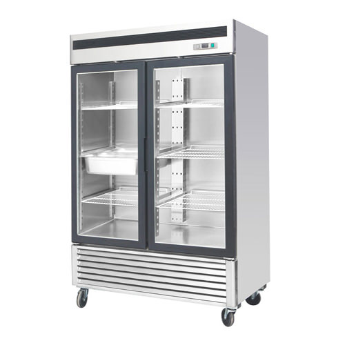 Industrial Kitchen Equipment Rental: EFI C2-54GDSVC 54″ 2 Door Glass Reach In Refrigerator