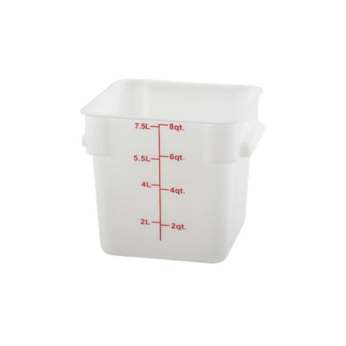 Winco PESC 8 Qt Polypropylene White Square Food Container