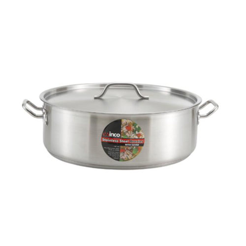 Winco SSLB-8 8 Qt Premium Stainless Steel Brazier With Cover