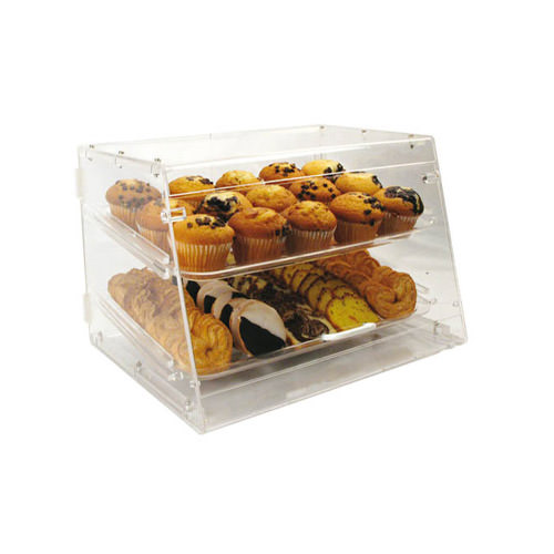 Winco ADC-2 2 Tray Acrylic Bakery Display Case With Rear Doors