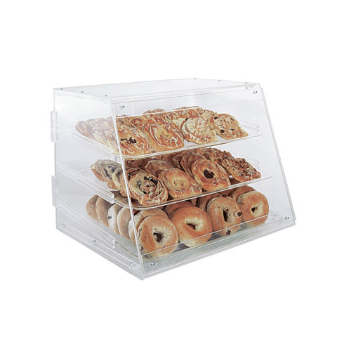 Winco ADC-3 3 Tray Acrylic Bakery Display Case With Rear Doors