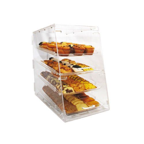 Winco ADC-4 4 Tray Acrylic Bakery Display Case With Rear & Front Doors