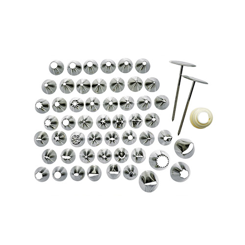 Winco CDT-52 52 Piece Stainless Steel Cake Decorating Tip Set