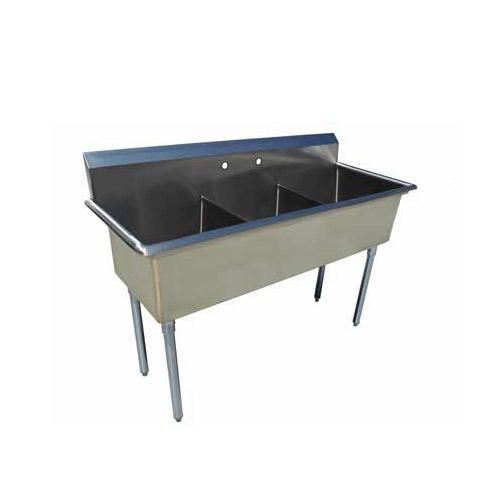 EFI SI818-3NC-E 18″ x 18″ x 13″ Economy Center Drain Three Compartment Sink With No Drain Board