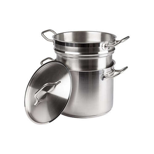 Winco SSDB 8 Qt Stainless Steel Double Boiler With Cover