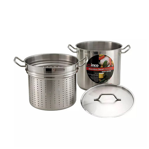 Winco SSDB-8S 8 Qt Master Cook Steamer Pasta Cooker With Cover