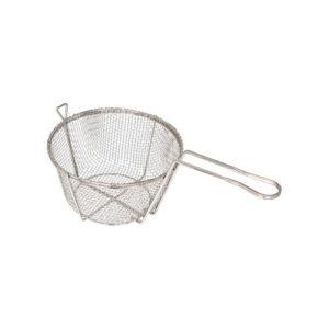 """Winco FBR-8 8 1/2"""" x 4 1/4"""" Round Coarse Mesh Fry Basket"""