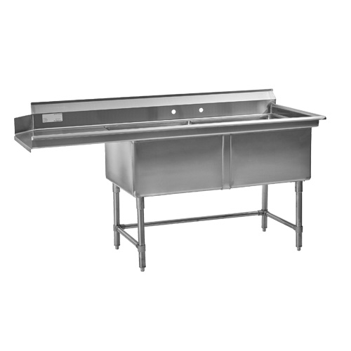 Thorinox TDS-2424-LDW 24″ x 24″ x 14″ Center Drain Two Compartment Sink With Left Drain Board